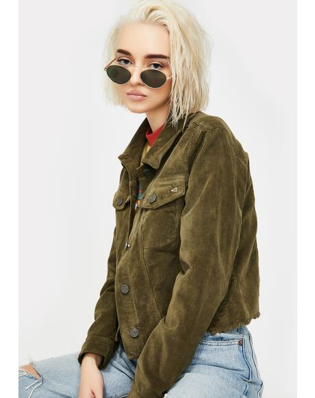 Olive Corduroy Crop Jacket