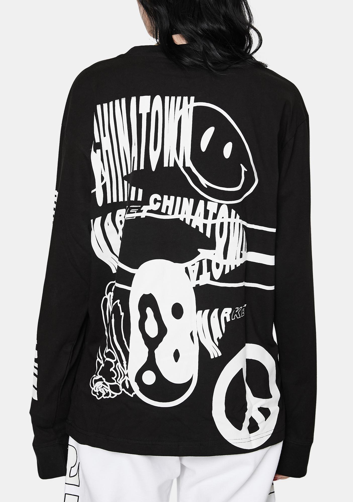 CHINATOWN MARKET Black Warp Long Sleeve Graphic Tee