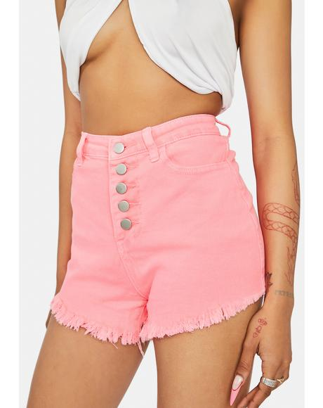 Blush Stay Salty Denim Button Up Shorts