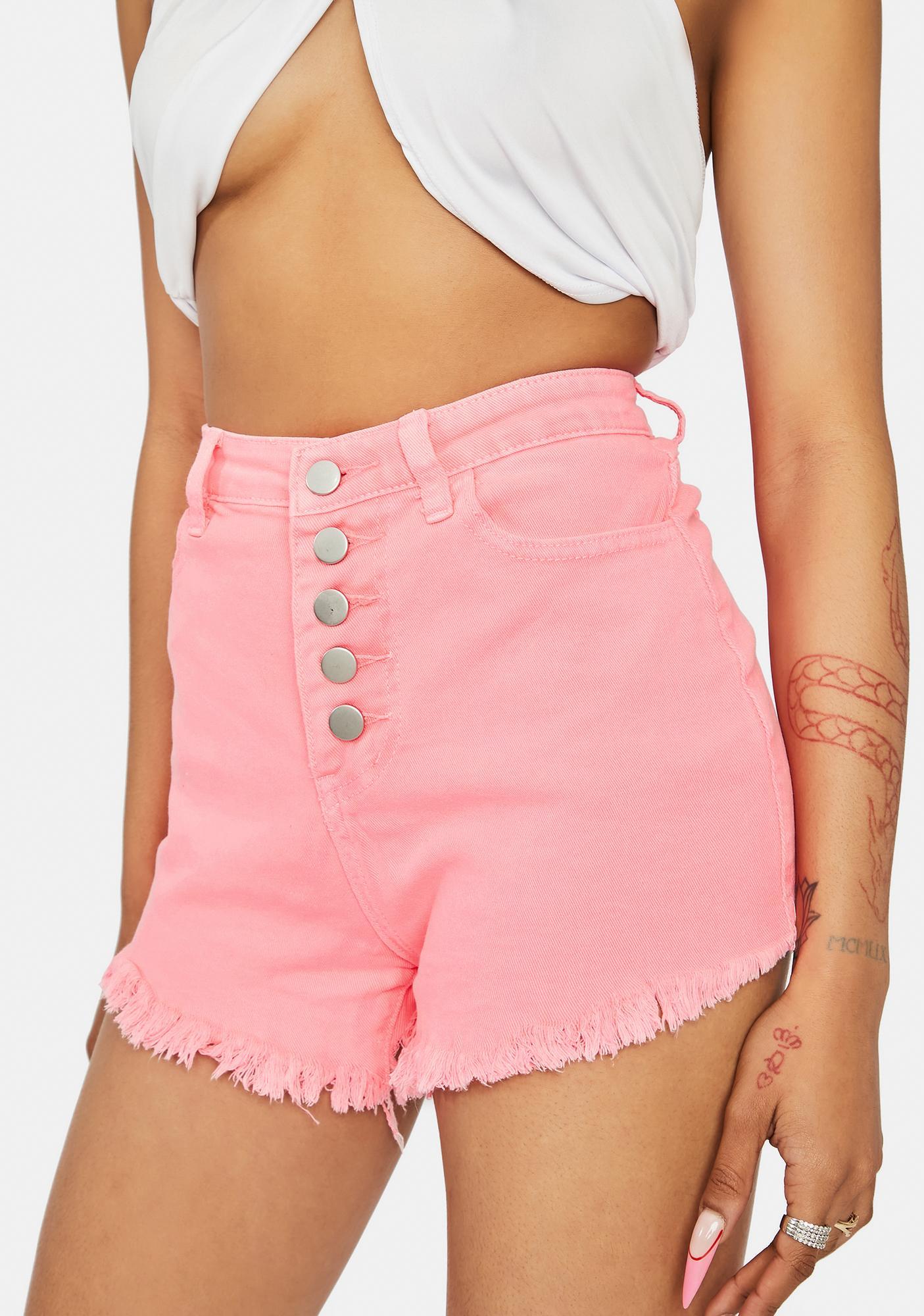 Blush Stay Salty Denim Button Up Shorts