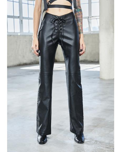 Bassline Vegan Leather Lace Up Pants