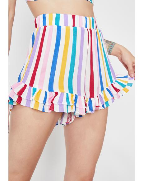 Rainbow Mania Striped Shorts