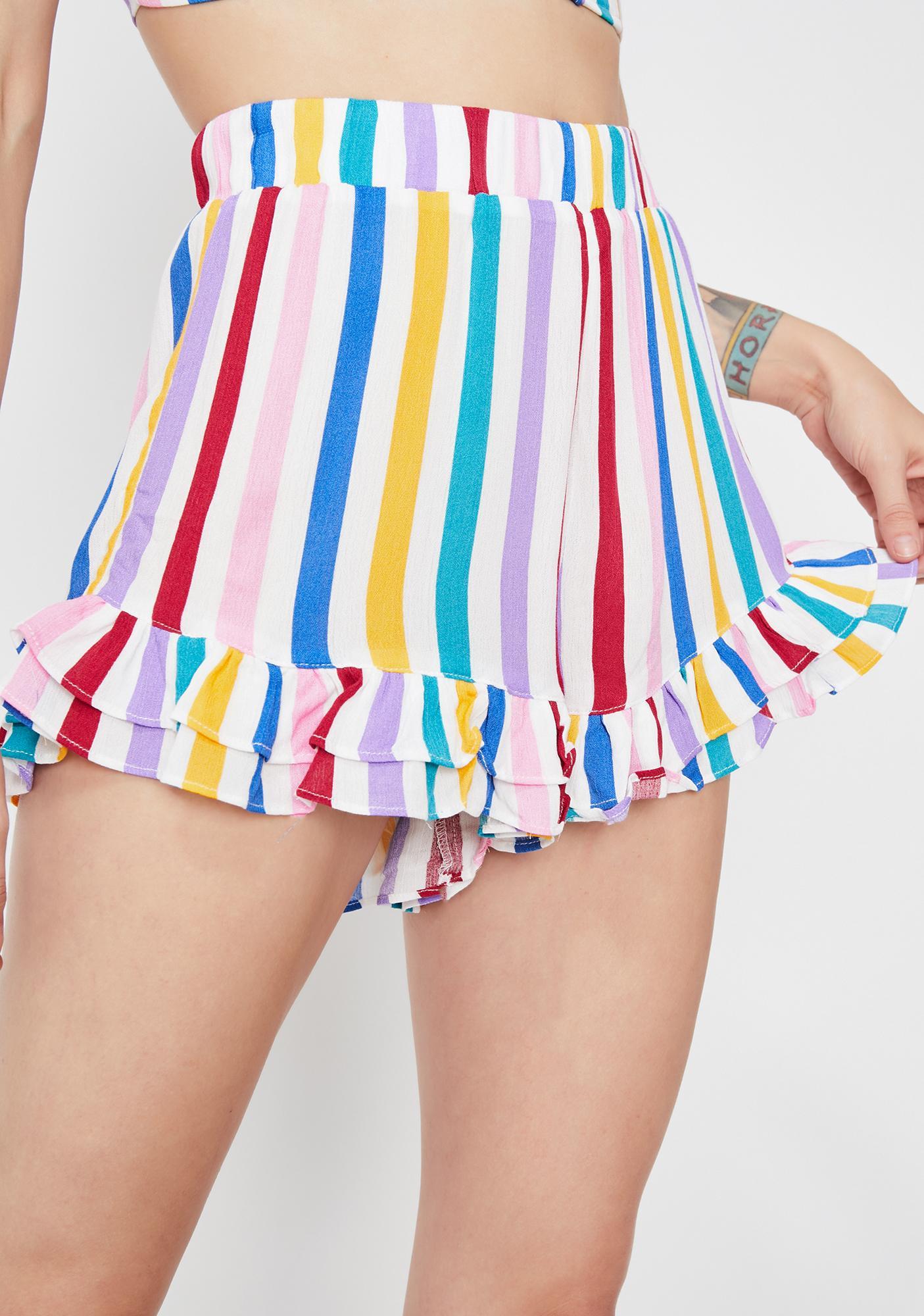 Rainbow Mania Striped Shorts