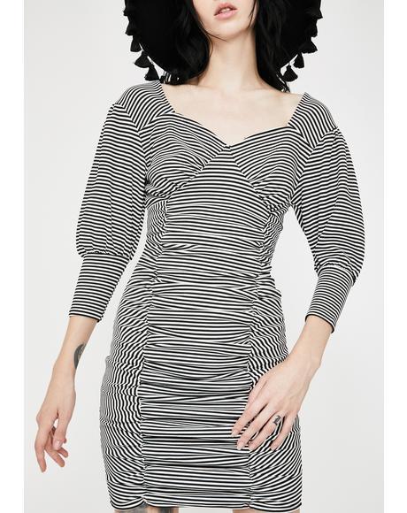 Ruched Puff Sleeve Mini Dress