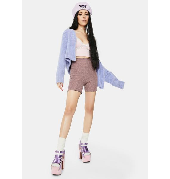 ZEMETA Pink Knit Biker Shorts