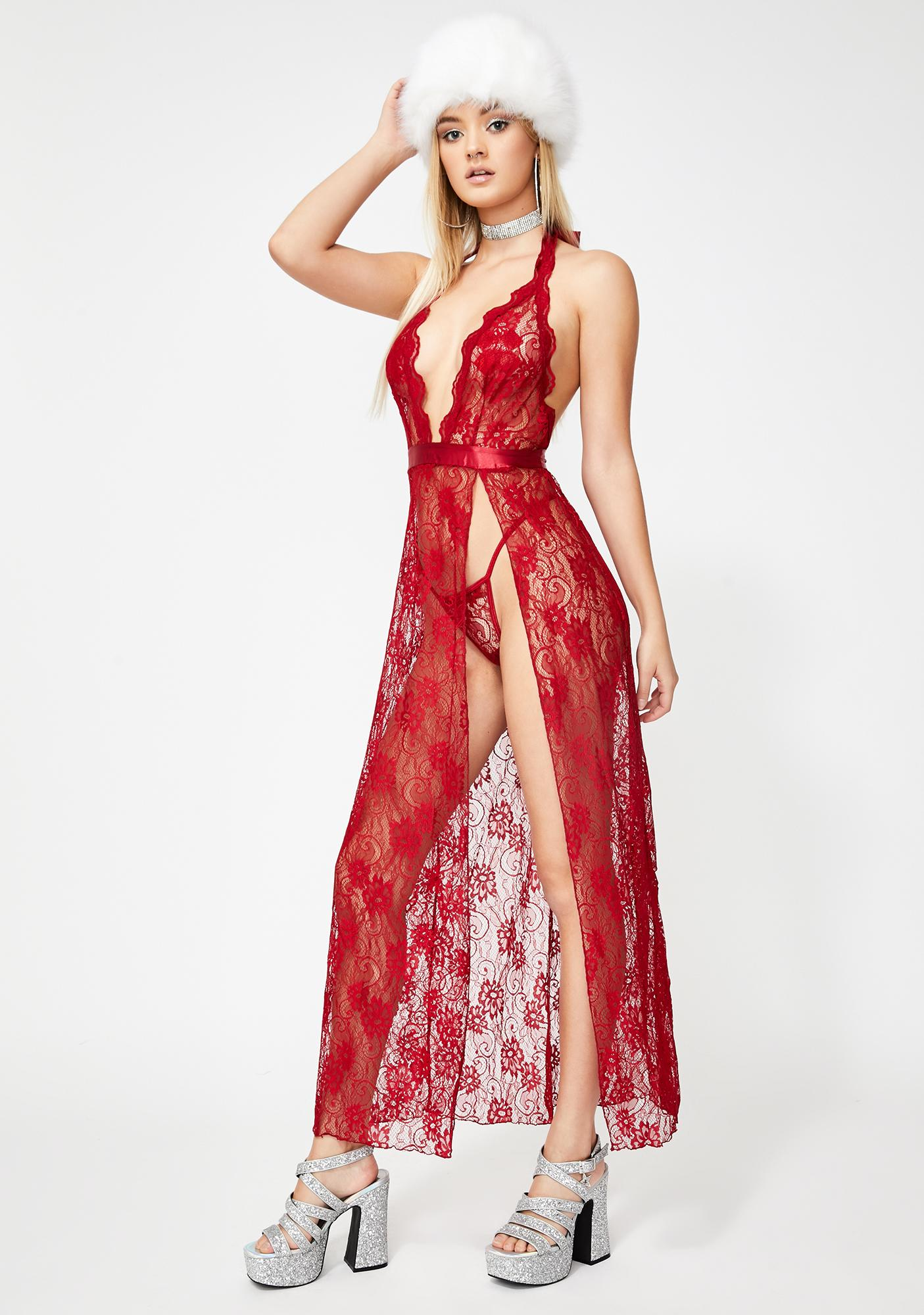Scarlet Seduction Lace Gown