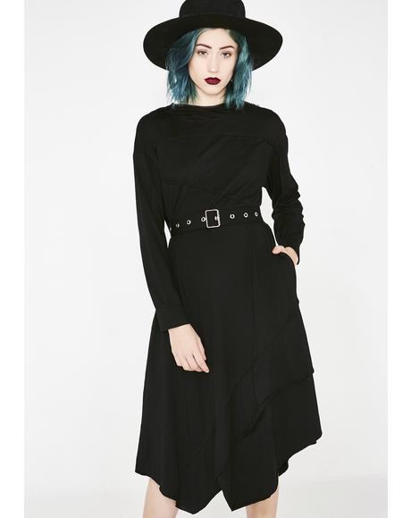 Stitching Asymmetrical Hooded Dress
