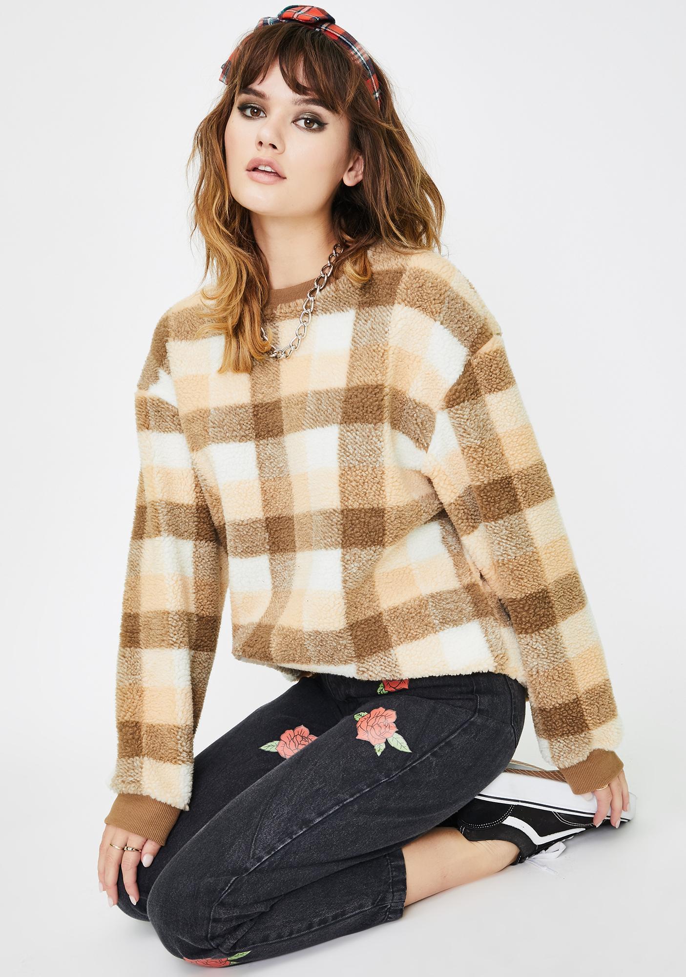 Daisy Street Teddy Print Sweatshirt