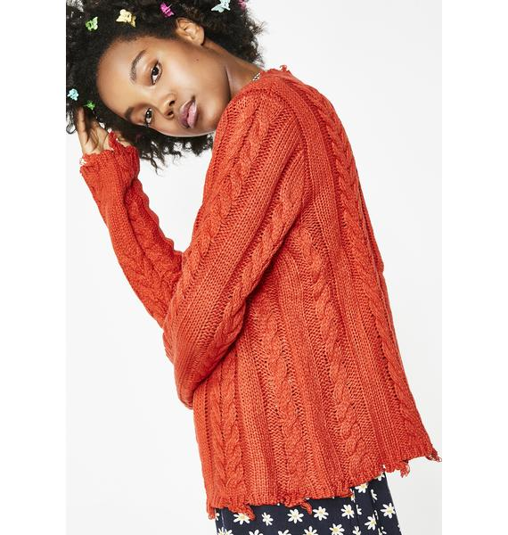 Blazed Baddie Dreams Cable Knit Sweater