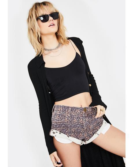 Azteca Leopard Bandit Denim Shorts