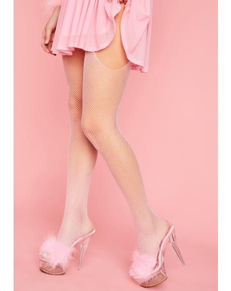 Someone Like You Rhinestone Garter Fishnet Tights