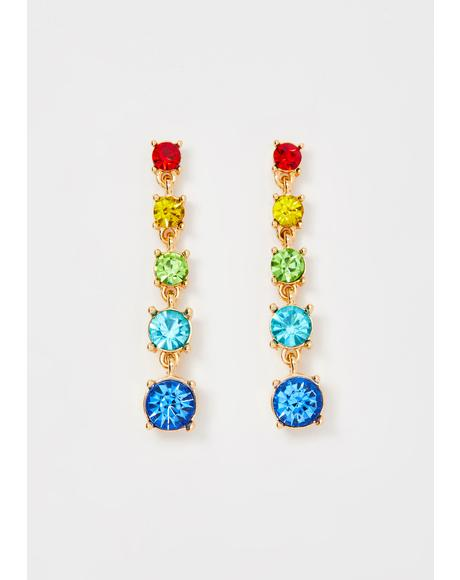 Rainbow Queen Gem Drop Earrings