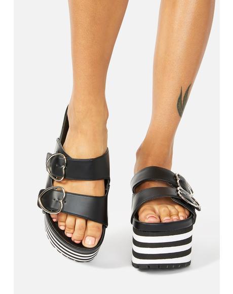 Lovesick Striped Platform Sandals