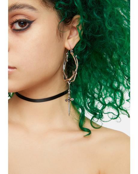 Holy Rose Vine Hoop Earrings