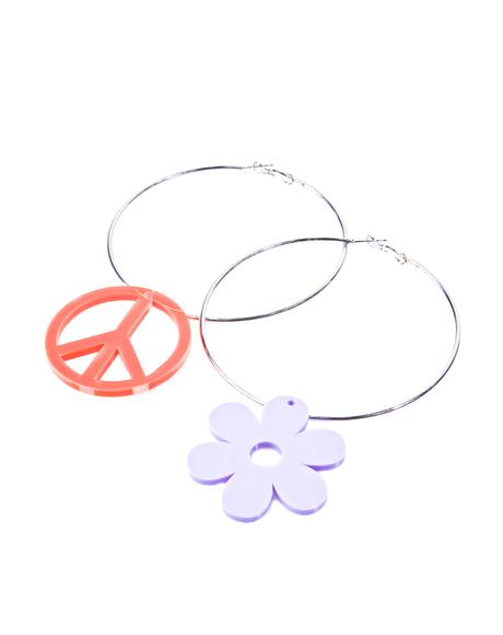 Peace Sign N' Daisy Silver Hoops