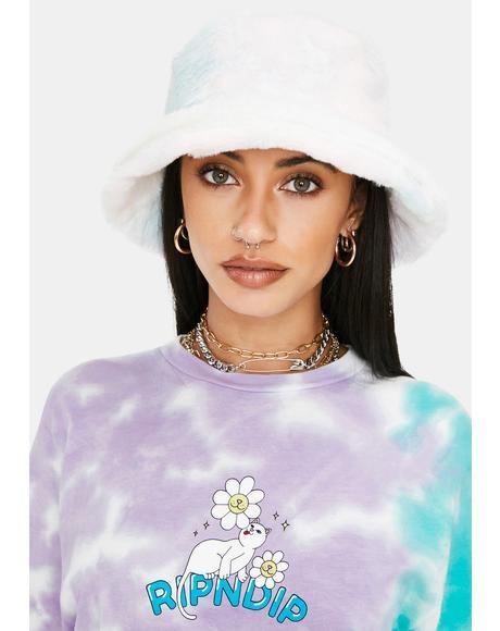 Pastel Nostalgia Fuzzy Tie Dye Bucket Hat