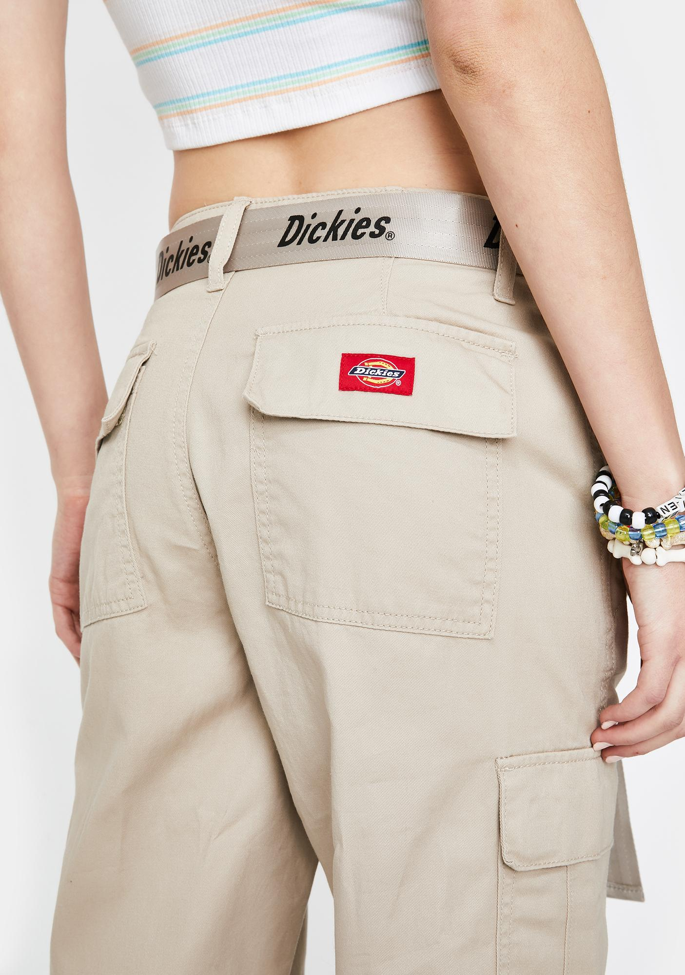 Dickies Girl Khaki Belted Cargo Pants