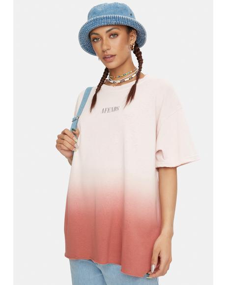 Pink Dip Dye Courtney Love Hemp Oversized Tee