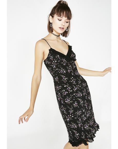 Vintage 90s Floral Midi Dress