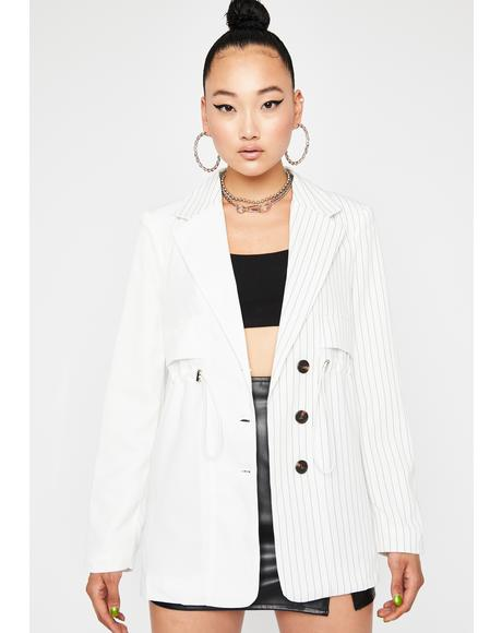 Icy Second Interview Pinstripe Blazer