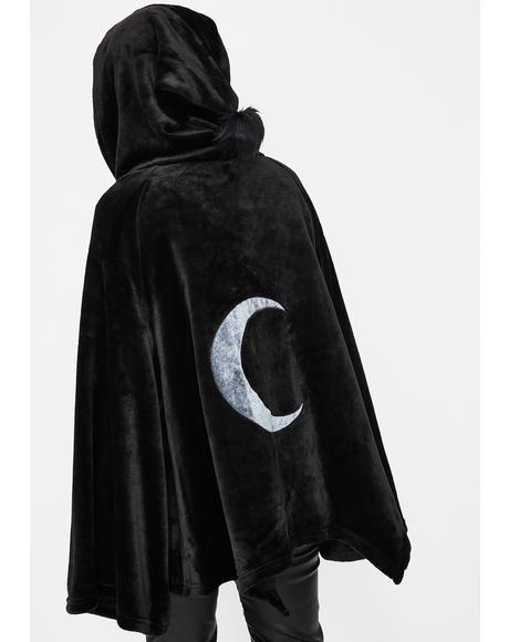 Dark Velvet Embroidered Cloak Jacket