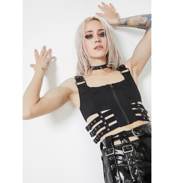 Punk Rave Puppet Futuristic Crop Top
