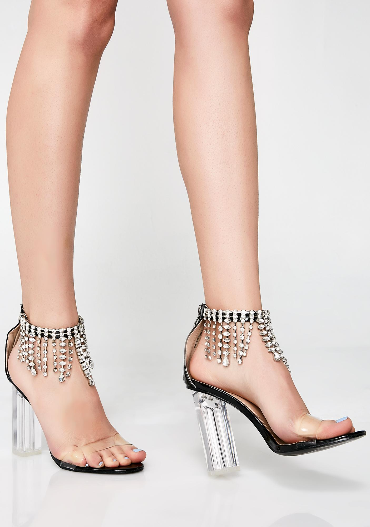 Public Desire Oxygen Crystal Drape Ankle Strap Heels