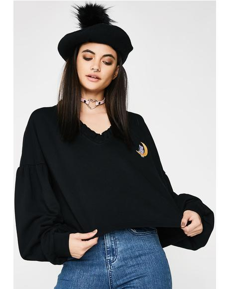 Chillin On The Moon Cropped Sweater