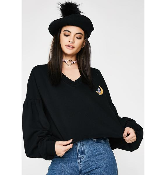 Lazy Oaf Chillin On The Moon Cropped Sweater