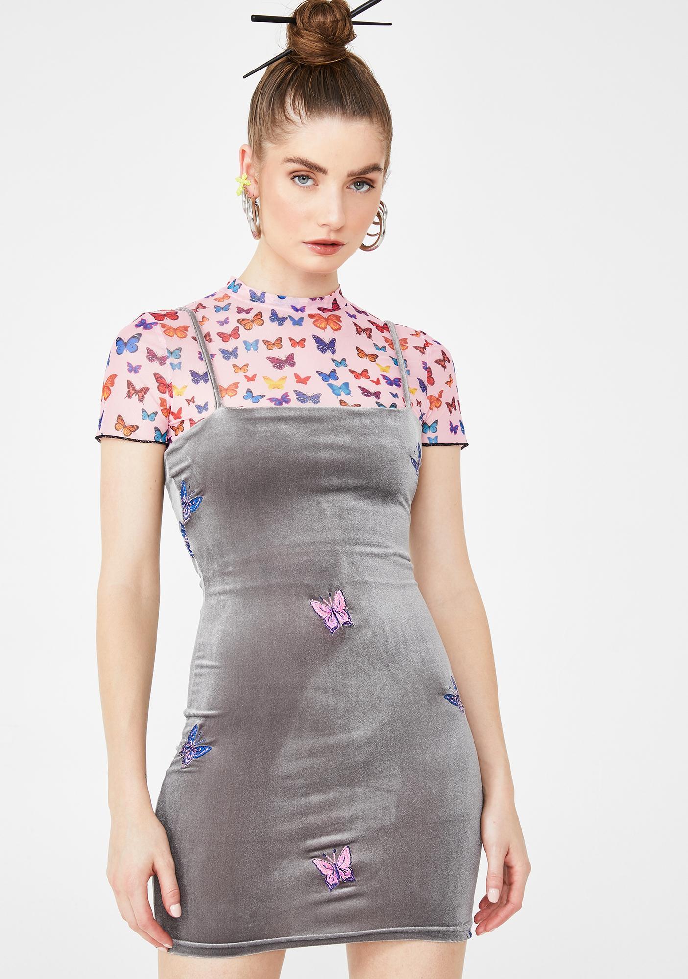 ZEMETA Velvet Butterfly Embroidered Dress