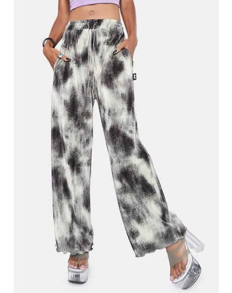 Brush Stroke Pleated Wide Leg Pants