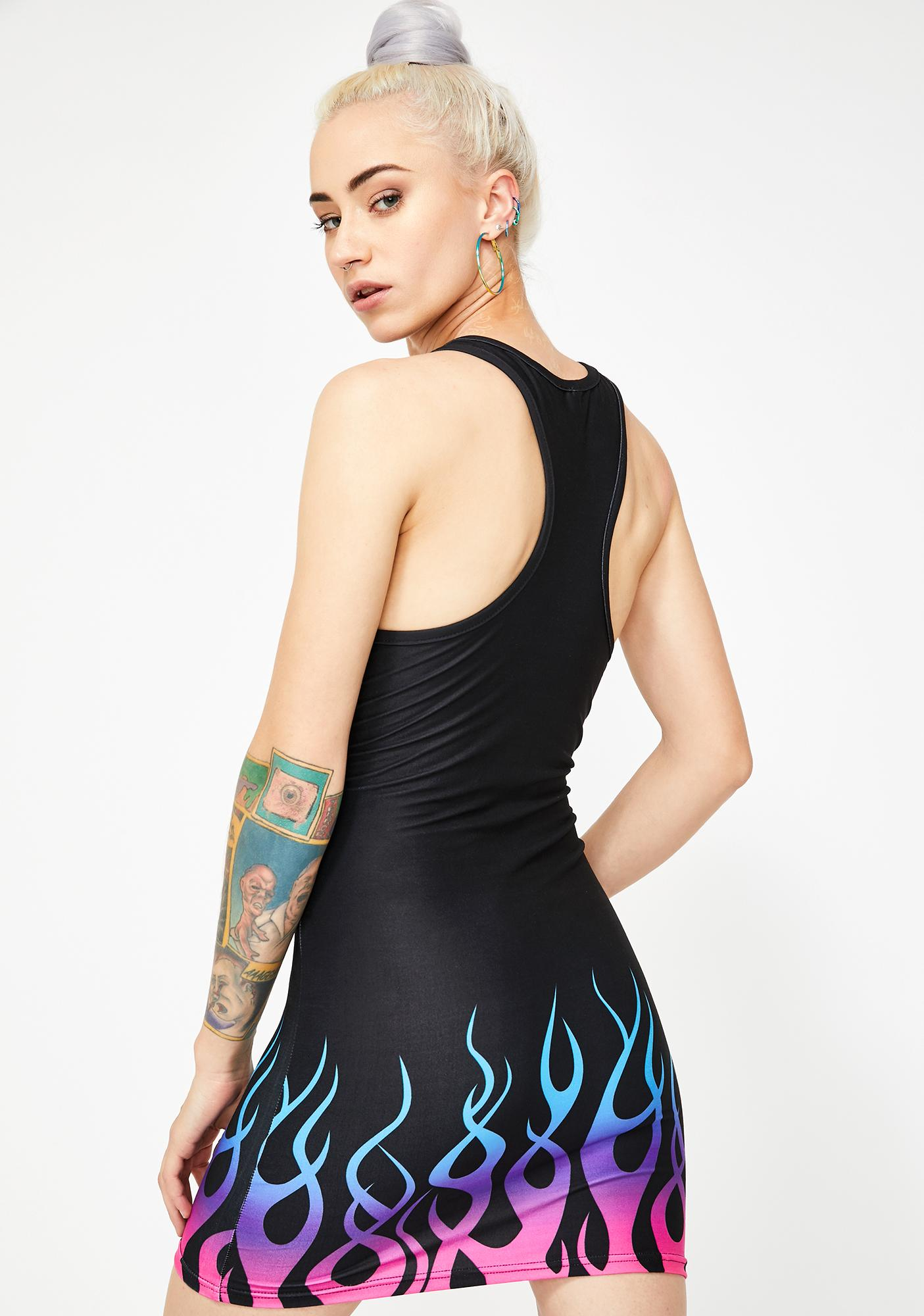 Too Fast Pastel Goth On Fire Bodycon Dress