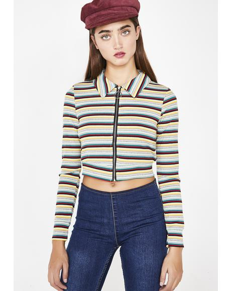 Dank Stripe Stop Whining Zip Up Top