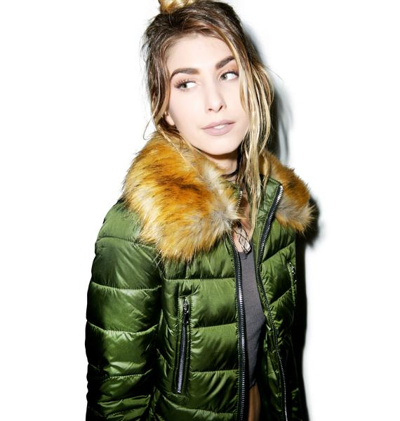 Glamorous Down To Faux Quilted Jacket