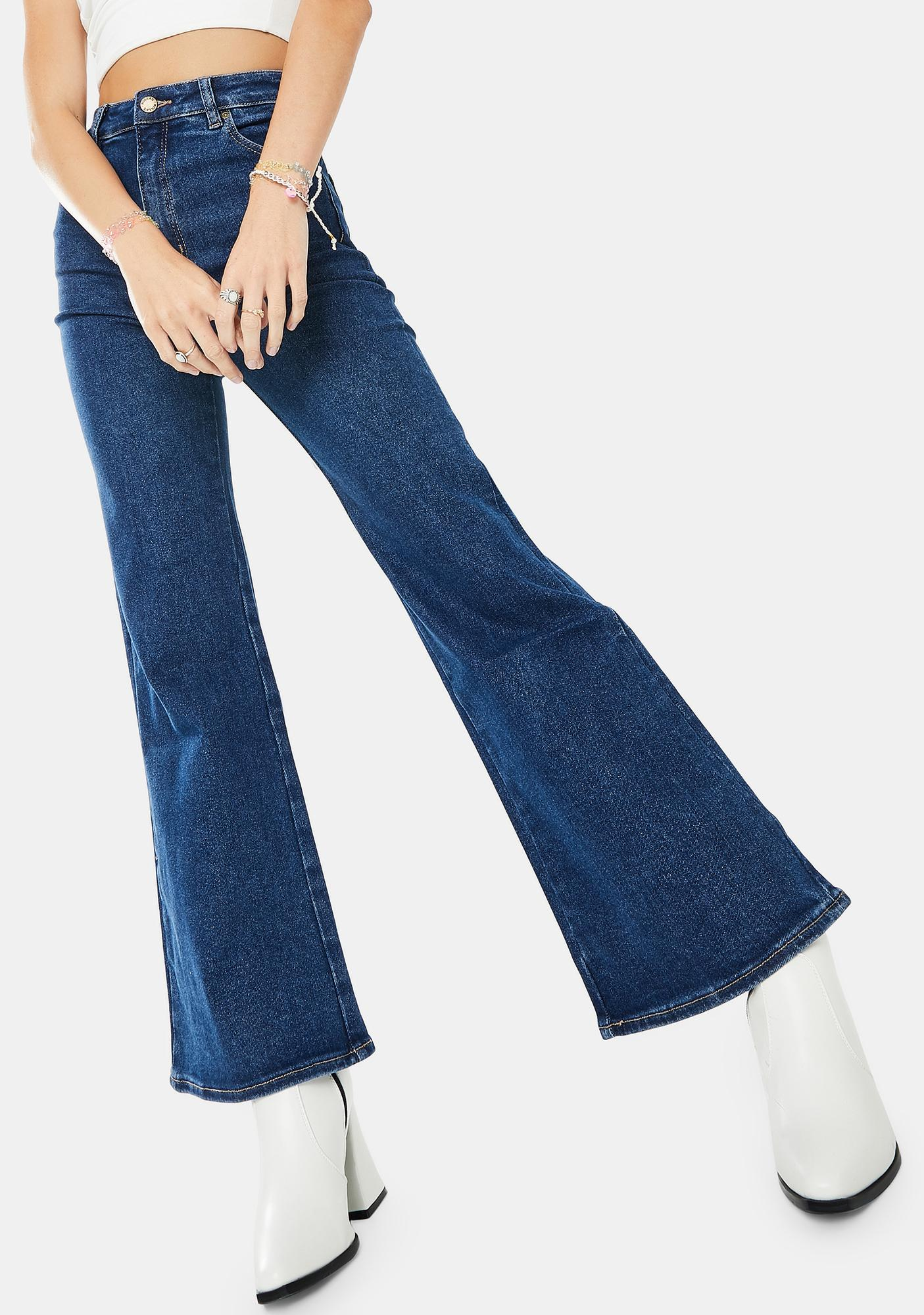Rollas Bayside Blue Eastcoast Crop Flare Jeans