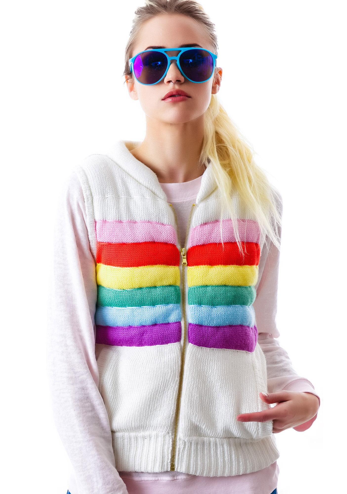Wildfox Couture Rainbow TDB Zipper Vest