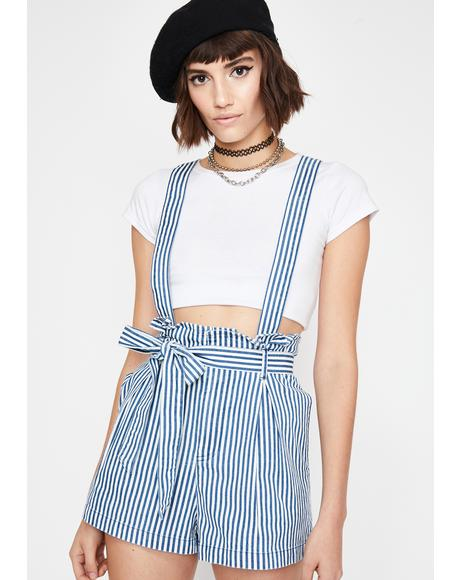 Sunday Chic Striped Shortalls