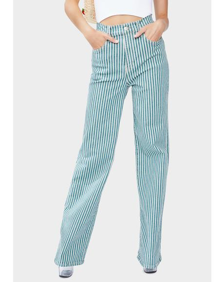 Striped Astoria Wide Leg Jeans
