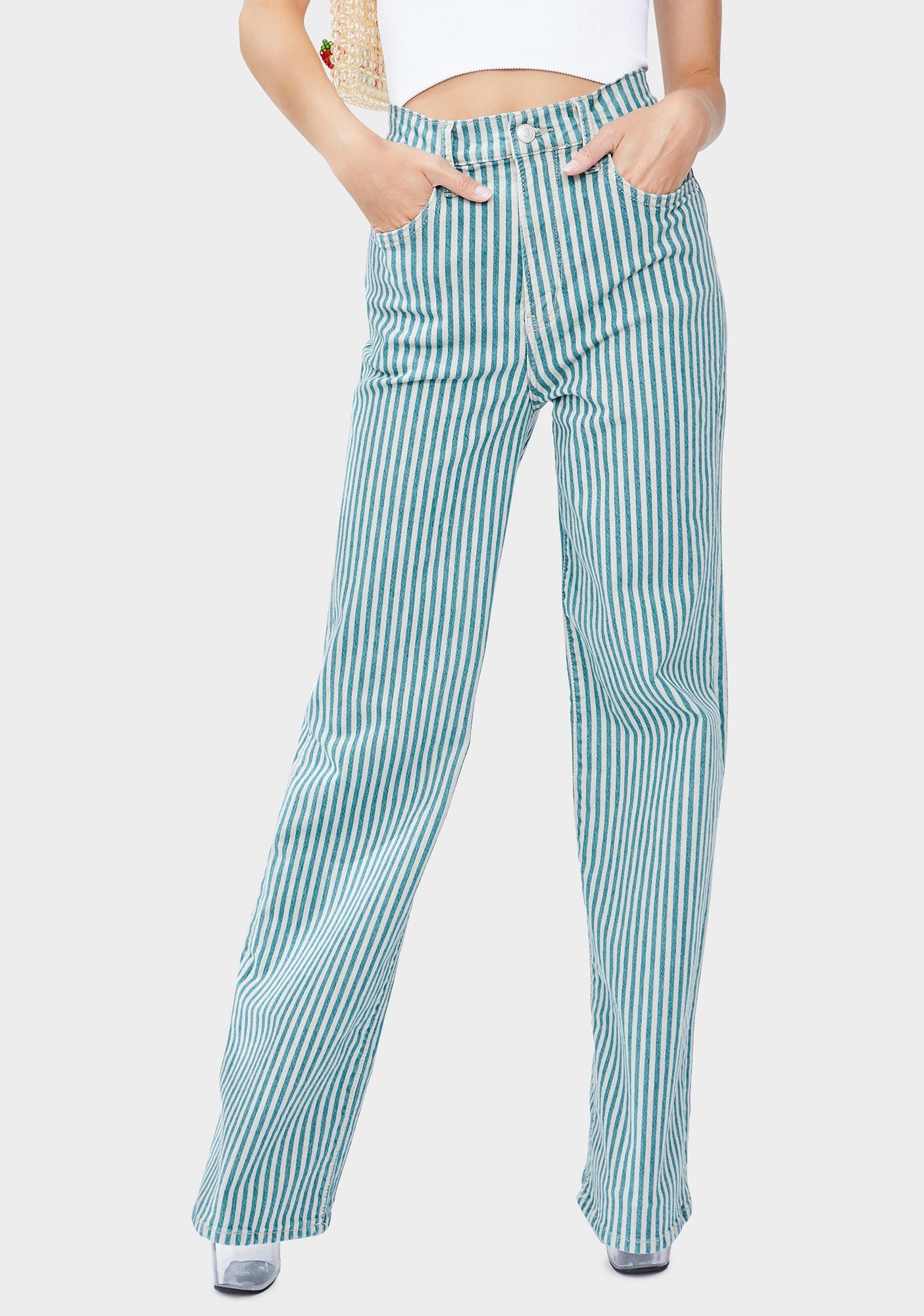 Free People Striped Astoria Wide Leg Jeans