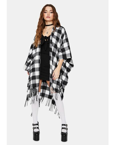 Pure Lazy Days Fringe Plaid Poncho