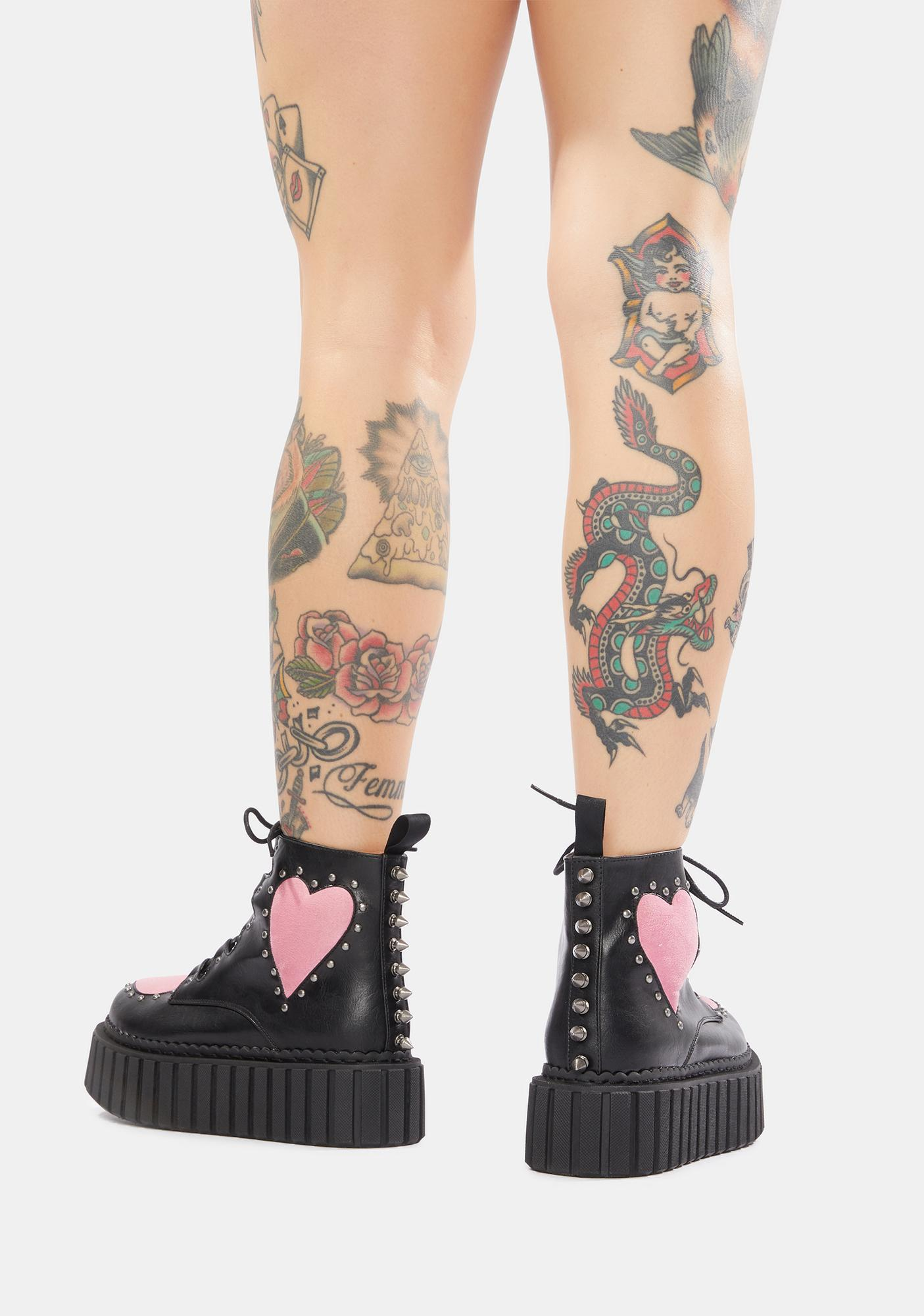 Lamoda Cross Your Heart Chunky Creeper Ankle Boots