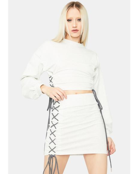 The Less I Know Lace Up Skirt Set