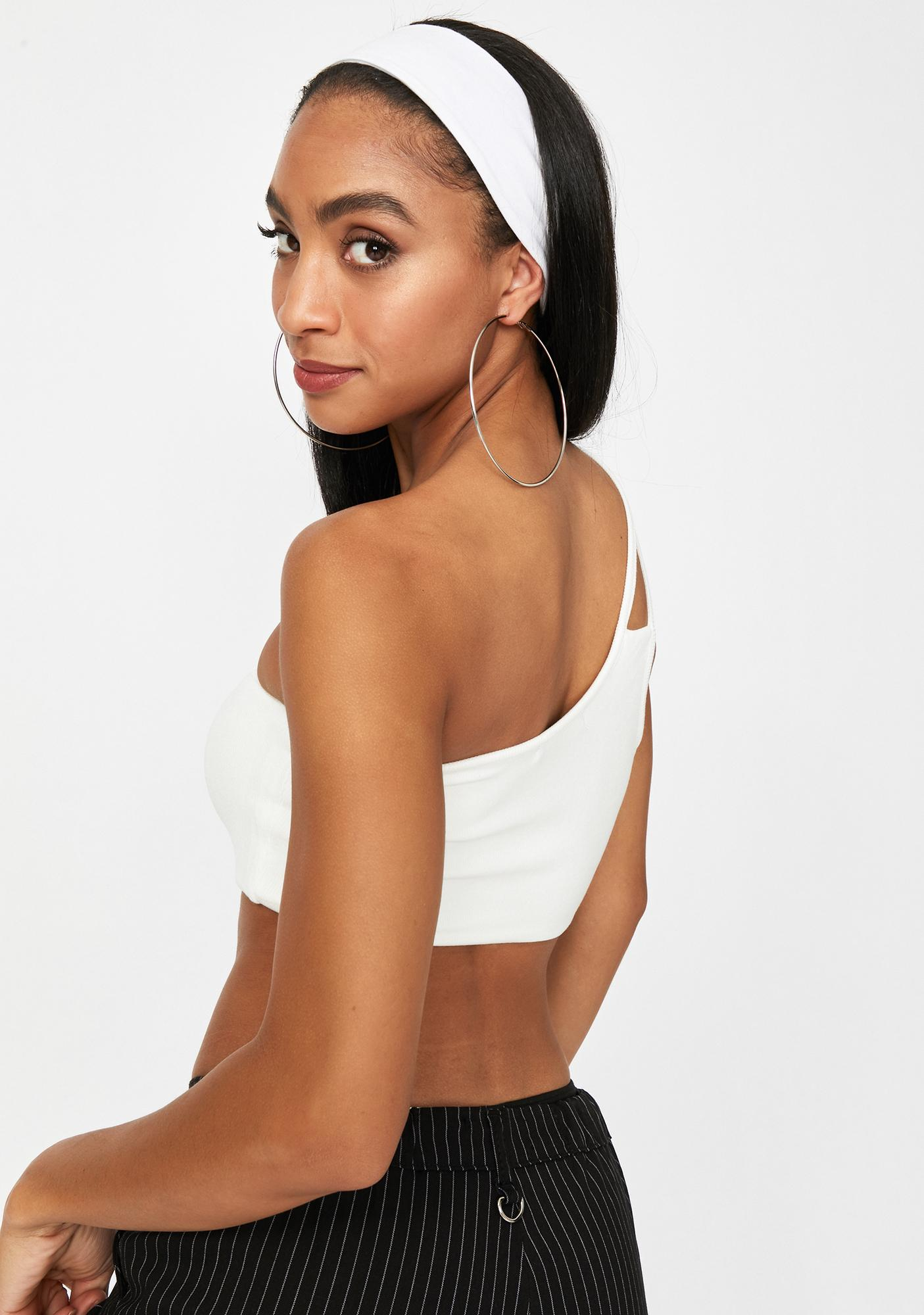 Icy State Of Mind One Shoulder Crop Tank