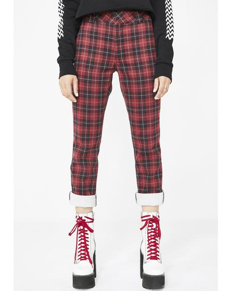 Tartan Straight Work Pants