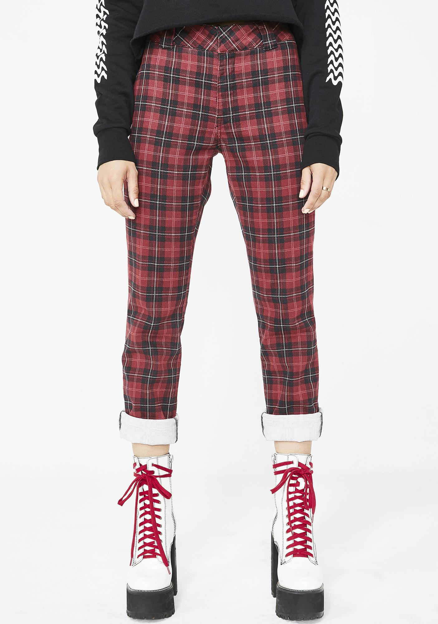 Dickies Girl Tartan Straight Work Pants