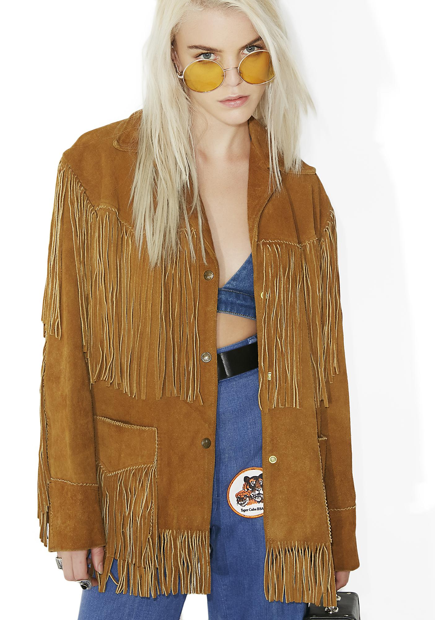 Vintage Brown Suede Fringe Jacket