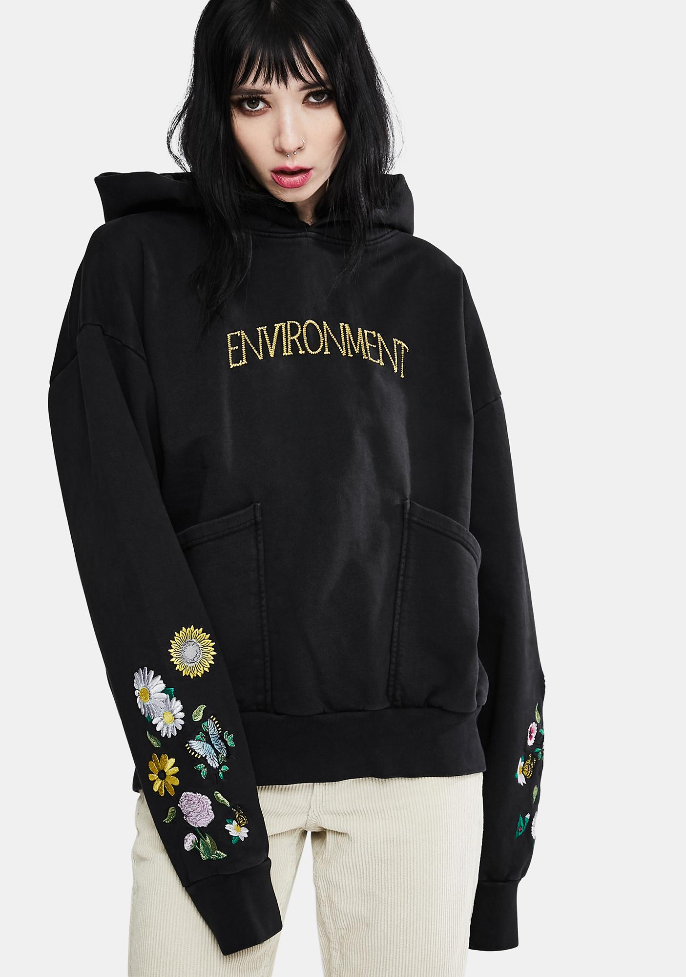 The Rad Black Kids Environment V2 Embroidered Hoodie