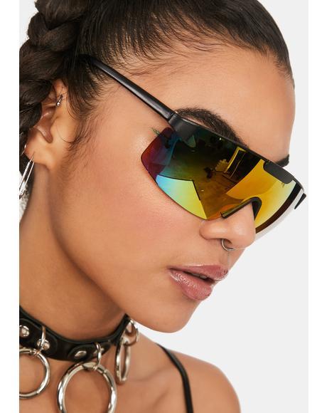Yellow Maxi Shield Sunglasses