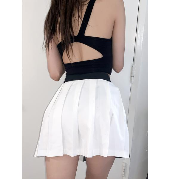 LOVE TOO TRUE Yin & Yang Chain Pleated Skirt