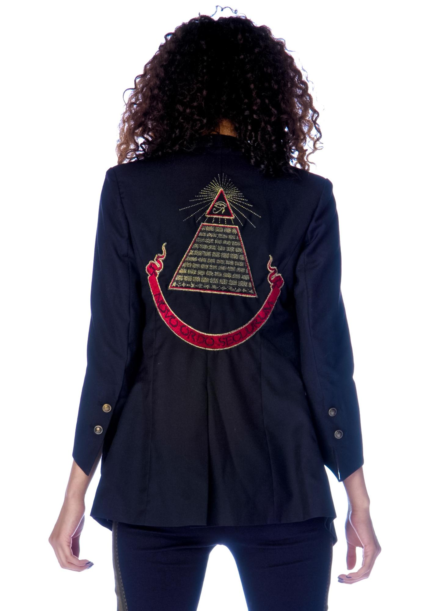 Widow Tailored Jacket with Back Embroidery
